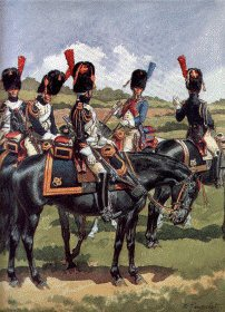 UN112. Garde Imperiale Grenadiers a Cheval - Grande Tenue by L Rousselot. <p>Copyright Anne S K Brown Collection, who gave permission for 1000 copies to be produced.<b><p> Open edition print. <p> Image size 8 inches x 12 inches (20cm x 31cm)