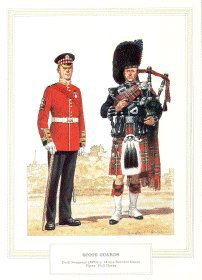 UN211.  Scots Guards by D Anderson. <b><p> Open edition print. <p> Image size 8 inches x 11 inches (28cm x 20cm)