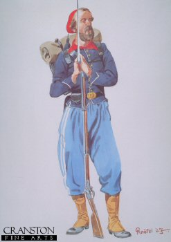 UN231.  73rd New York Volunteers Private (2nd Fire Zouaves) 1864 by Richard Knotal.  <p>Copyright Anne S K Brown Collection.<b><p>Open edition print. <p> Image size 12 inches x 8 inches (31cm x 20cm)