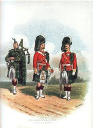 UN250.  Gordon Highlanders by Richard Simkin. <p>THe Gordon Highlanders uniform print showing an Officer, Soldier and Piper of the Gordon Highlanders around 1890 during the late Victorian period.<b><p> Open edition print. <p> Image size 9 inches x 12 inches (23cm x 31cm)