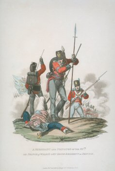 A Sergeant and Privates of the 87th or Prince of Wales Own Irish Regiment on Service  by J C Stadler after Charles Hamilton Smith.