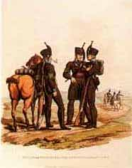 Hussars and Infantry of the Brunswick Corps  by J C Stadler after Charles Hamilton Smith.