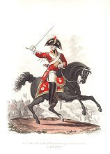 UN368.  Officer, 2nd Regiment of Life Guards in Full Dress by J C Stadler after Charles Hamilton Smith. <p>Modern reprint of the coloured lithograph vignettes by J C Stadler after Charles Hamilton Smith from Charles Hamilton Smiths Costumes of the Army of the British Empire, according to the last regulations 1812, published by Colnaghi & Co. 1812-1815, showing the British uniform of 1812 during the Napoleonic war.  Only 800 have been reprinted in 2002. <b><p> Open edition print. <p> Image size 9 inches x 11 inches (23cm x 28cm)