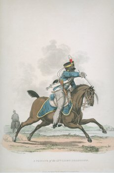 UN373.  Private, 13th Light Dragoons by J C Stadler after Charles Hamilton Smith. <p>Modern reprint of the coloured lithograph vignettes by J C Stadler after Charles Hamilton Smith from Charles Hamilton Smiths Costumes of the Army of the British Empire, according to the last regulations 1812, published by Colnaghi & Co. 1812-1815, showing the British uniform of 1812 during the Napoleonic war.  Only 800 have been reprinted in 2002.  <b><p>Open edition print. <p> Image size 9 inches x 11 inches (23cm x 28cm)