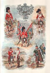 Badge and colours of the Cameron Highlanders by Harry Payne.