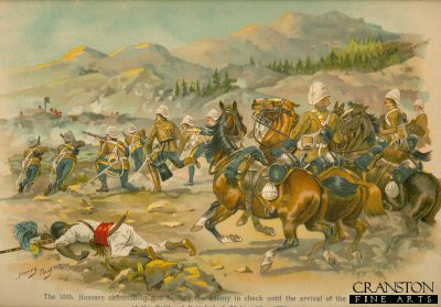 The 10th Hussars Skirmishing and Holding the Enemy in Check Until the Arrival of the Infantry at the Battle of Futtehabad, Afghan War, 1879 by Harry Payne.