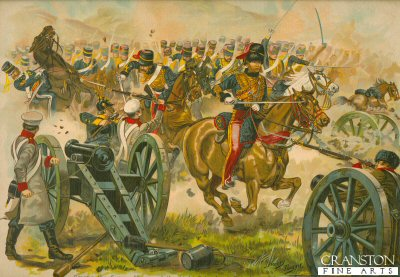 Among the Guns - Charge of the Light Brigade at Balaclava, Crimea, October 1854 by Harry Payne.