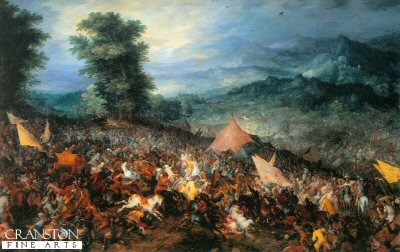 VAR103.  Battle of Gaugamela, 1st October 331BC by J Brueghel. <b><p>Open edition print. <p> Image size 12 inches x 8 inches (31cm x 20cm)