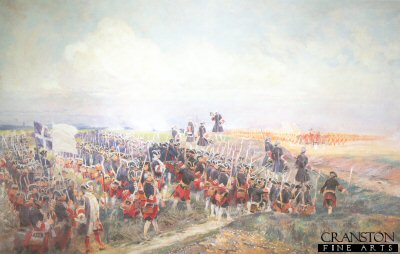 VAR123. Battle of Fontenoy by E Detaille. <p>Battle of Fontenoy during the war of Austrian Succession. French victory under Marshal Maurice De Saxe over the allies (British, Dutch and German under the Duke of Cumberland), 11th May 1745. Fontenoy, 5 miles south east of Tournai (Tolnay), the battle which started with a Dutch assault and British and Hanovarian infantry advance against the French centre during the battle a sudden attack by an Irish Brigade under French command, attacked the allied forces. The allied square was broken but the British, Hanovarian and Dutch forces retreated in good order. <b><p> Open edition print. <p> Image size 12 inches x 8 inches (31cm x 20cm)