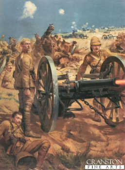 VAR125. The Last Shot at Colenso by Caton Woodville <p> Lt Roberts K.R.R. with Captain Schofield and Congreve, with all their ammunition used, they drew upon the emergency rounds of Case (their last shot) They stood to attention beside the gun and in an instant later fell pierced through by Boer Bullets. Lt Roberts earned his VC. <b><p> Open edition print.  <p>Image size 12 inches x 19 inches (31cm x 48cm)