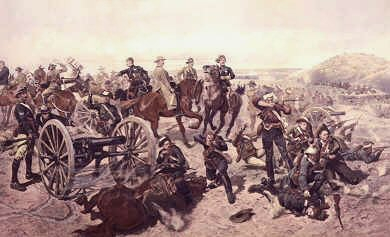 VAR126. Jameson&#39;s Last Stand, Battle of Doornkop 2nd January 1896 by Caton Woodville <p>In 1895, Leander Starr Jameson assembled a private army outside the Transvaal with the aim of invading and overthrowing the Boer government.  The idea had been to encourage civil unrest among foreign workers (Uitlanders), and use the outbreak of open revolt as an excuse to invade and take over the territory.  But Jameson grew impatient and so launched the Jameson Raid on 29th December 1895, and managed to push within twenty miles of Johannesburg before superior Boer forces compelled him and his men to surrender at Doornkop on the 2nd of Janaury 1896.<b><p> Open edition print.<p>  Image size 19 inches x 12 inches (48cm x 31cm)