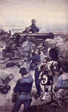 VAR129.  Sebastopol by Richard Caton Woodville. <p>Royal Navy guns taken from their ships and used at Sebastopol.  By mid-October 1854, the Allies had some 120 guns ready to use against Sevastopol while the defending Russians had over 300 guns to defend against attacking infantry.  The Russians opened the artillery barrage on the 17th of October 1854 and destroyed the French magazine, which put their guns out of action.  But the British guns began to fire and quickly blew the magazines in the Malakoff redoubt, killing Admiral Kornilov, and  silencing most of the Russian guns, weakening the Sebastopol defences and providing an excellent chance for a British and French assault on the City of Sebastopol, which was not taken.<b><p>Open edition print. <p> Image size 9 inches x 13 inches (23cm x 33cm)