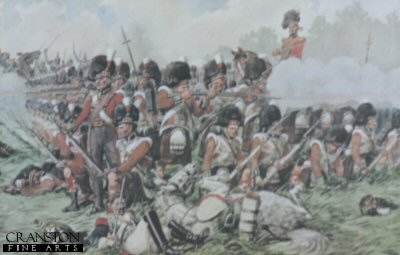 Cameron Highlanders in Square at Waterloo by Richard Simkin.