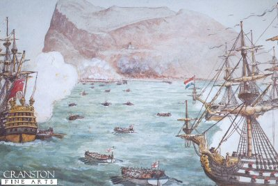 Foxs Marines (later 32nd Foot) Taking Gibraltar, July 31st 1704 by Richard Simkin.
