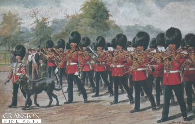 The Band of the Irish Guards with their Regimental Mascot by Harry Payne.