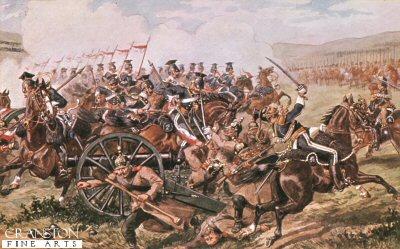 The 17th Lancers at Balaclava by Richard Simkin.