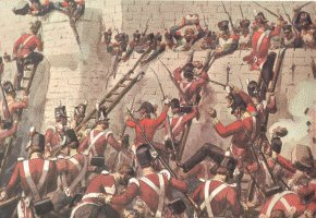 30th Foot at the Storming of Badajoz by Richard Simkin.