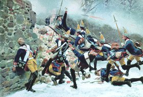Prussian guards at the Battle of Leuthen 1757 by Carl Rochling.