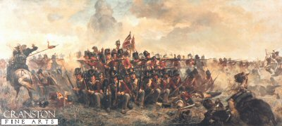 VAR311.  Quatre Bras by Lady Elizabeth Butler.  <p>28th Gloucester Regiment shown in square repelling the French cavalry. <b><p> Open edition print.   <p>Image size 30 inches x 14 inches (76cm x 35cm)