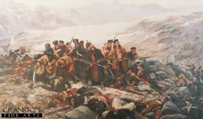 VAR312.  Last Stand at Gundamuck by William Barnes Wollen. <p>Last stand of the 44th (Essex Regiment) after their retreat from Kabul. This painting depicts an incident during the retreat from Kabul in the first Afghan War of 1839-1842, when the remnants of the 44th (East Essex) Regiment made a last stand at Gundamuck and were overwhelmed by Afghan tribesmen.  In an attempt to save the Regimental Colour, Lieutenant T A Souter wrapped the flag around him.  Seeing the ornately decorated cloth the Afghans believed him to be a high official and spared his life for ransom. <p>Published by Pompador Gallery and sold out for many years.  We managed to obtain 60 prints from a trade fair some time ago.  Condition is good but not brand new.  Image has a couple of small, practically unnoticeable dents.<b><p> Open edition print. <p> Image size 30 inches x 20 inches (76cm x 51cm)