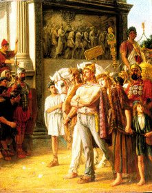 VAR336.  Caractacus being Paraded by the Emperor Claudius, AD50 by Thomas Davidson. <b><p> Open edition print. <p> Image size 9 inches x 12 inches (23cm x 31cm)