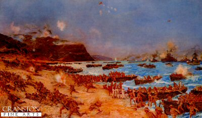 VAR402.  Gallipoli Anzac Beach by Charles Dixon. <p>The Landing at Anzac, April 25th 1915. <b><p> Open edition print. <p> Image size 12 inches x 7 inches (31cm x 18cm)