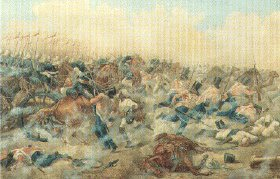 The Battle of Goojerat, 21st October 1849 by H.M (initials) probably Henry Martens.