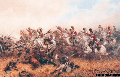 VAR458.  Capturing of the French Eagle by Sgt Ewart by Orlando Norie. <b><p>Open edition print. <p> Image size 17 inches x 12 inches (43cm x 31cm)
