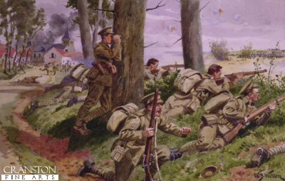 VAR490. Here They Come by William Barnes Wollen. <p> Coldstream Guards, France 1914. <b><p> Open edition print. <p> Image size 12 inches x 8 inches (31cm x 20cm)