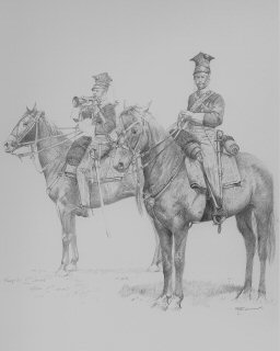 VAR628. Officer and Bugler, 17th Lancers, Balaclava by Chris Collingwood. <b><p> Signed limited edition of 1100 prints.  <p>Image size 9 inches x 12 inches (23cm x 31cm)