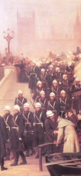 The Coldstream Guards Departing London for a Campaign by Robert Hillingford