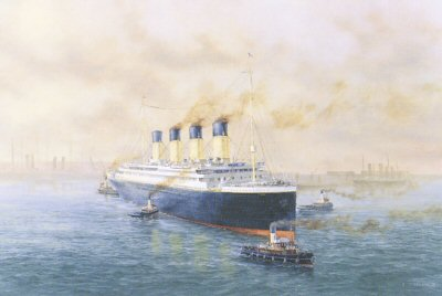 Titanic Leaving Southampton by E. D. Walker.