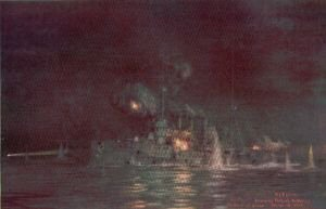 Amethyst Engaging Turkish Batteries off Kephez Point by W L Wyllie.