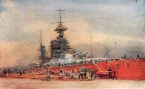 Princess Royal in Dry Dock after the Jutland Battle by W L Wyllie.