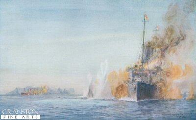 Carmania Engages Cap Trafalgar by W L Wyllie.